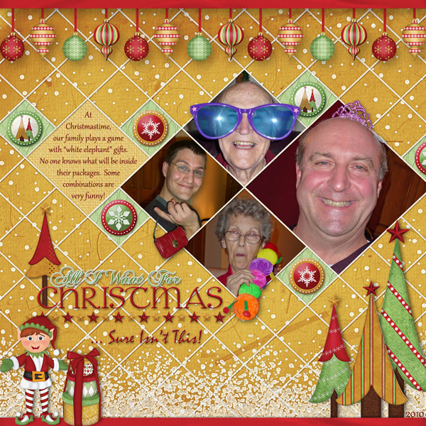 """All I Want For Christmas"" digital scrapbooking layout featuring North Pole Friends Collections"
