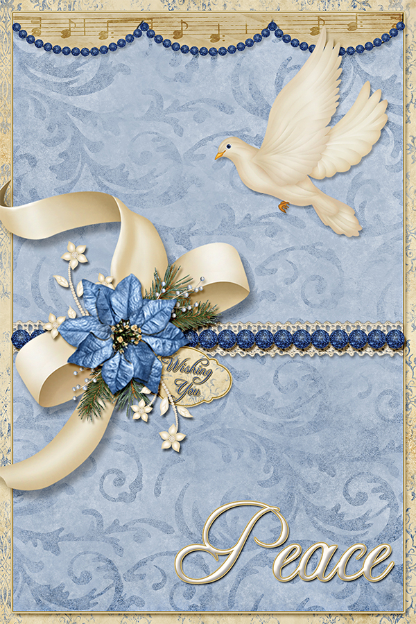 """Wishing You Peace"" digital Card using ScrapSimple Card Templates: 4x6 Vertical 1"
