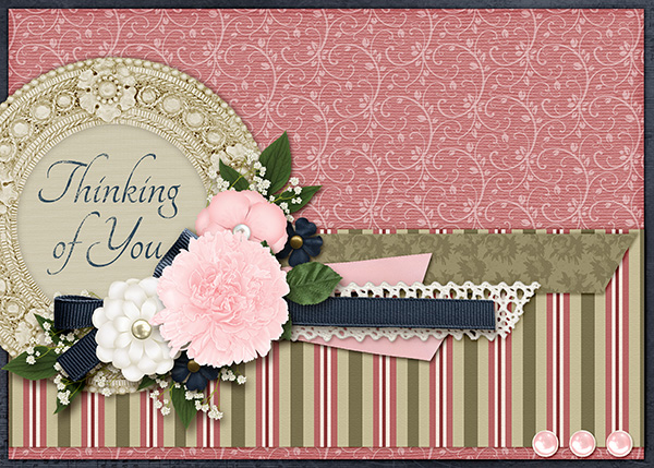 """Thinking Of You "" card featuring the ScrapSimple Card Templates:  5x7 Everyday"