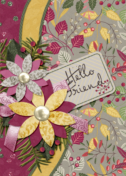 """Hello Friend""  card featuring the ScrapSimple Card Templates:  5x7 Everyday"