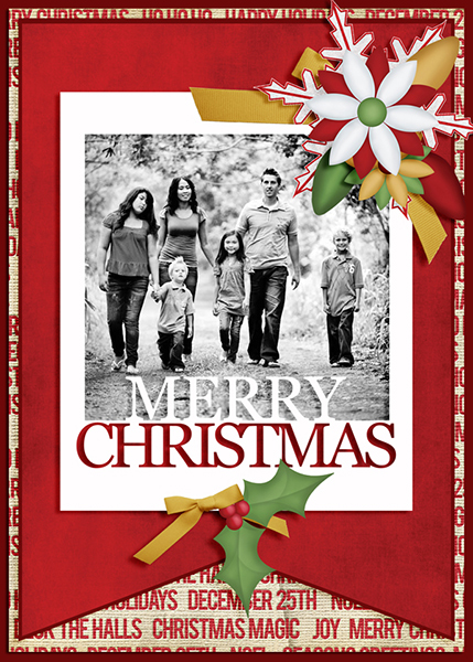 """Merry Christmas"" photo card featuring the ScrapSimple Card Templates:  5x7 Holiday"