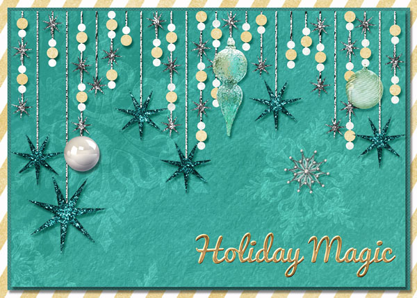 """Holiday Magic"" digital card using the ScrapSimple Card Templates:  5x7 Holiday"