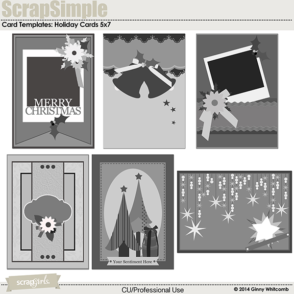 ScrapSimple Card Templates:  Holiday