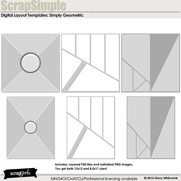 Digital Scrapbooking Kit Scrap Simple Layout Templates: Simply ...