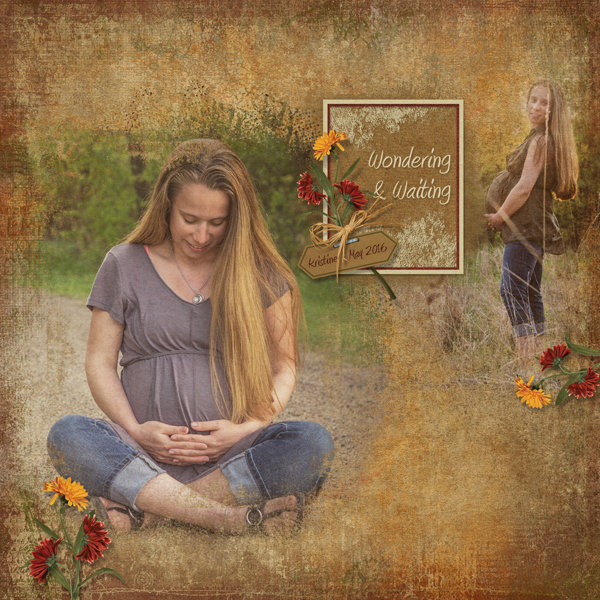 """Wondering and Waiting"" digital scrapbooking layout using Scrap Simple:  Grunge Effect"