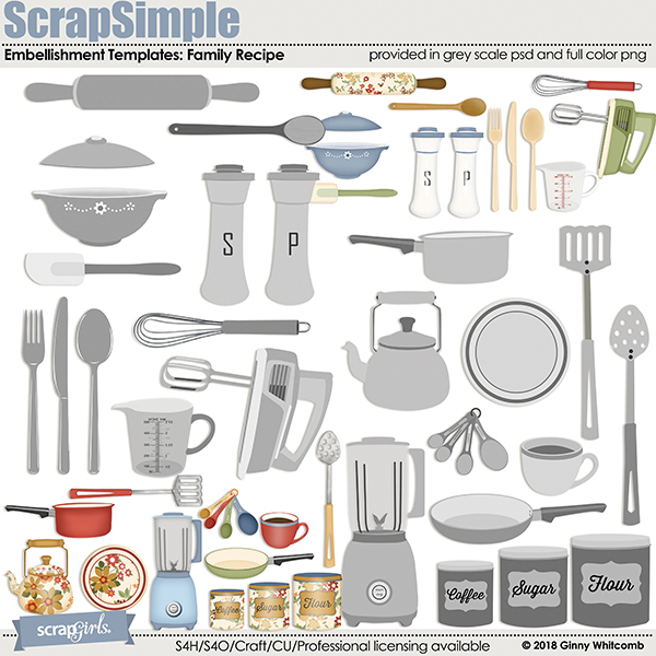 ScrapSimple Embellishment Templates:  Family Recipe