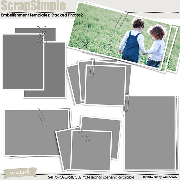 ScrapSimple Embellishment Templates:  Stacked Photos2