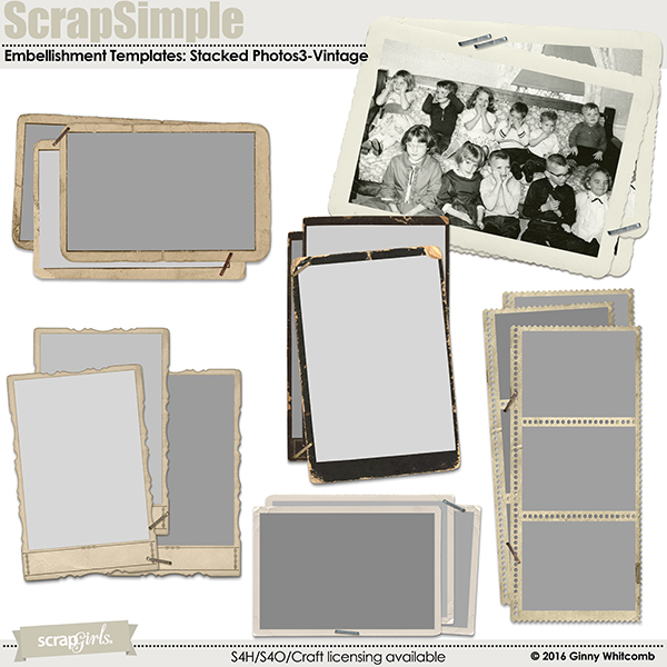 ScrapSimple Embellishment Templates:  Stacked Photos Vol. 3-Vintage