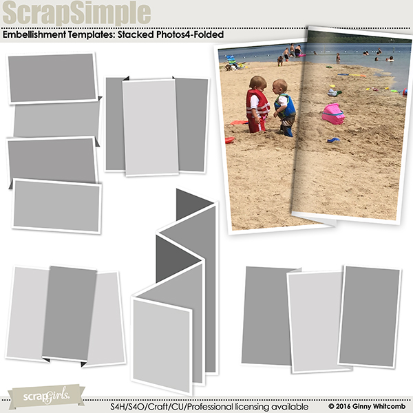 ScrapSimple Embellishment Templates:  Stacked Photos Vol. 4 - Folded