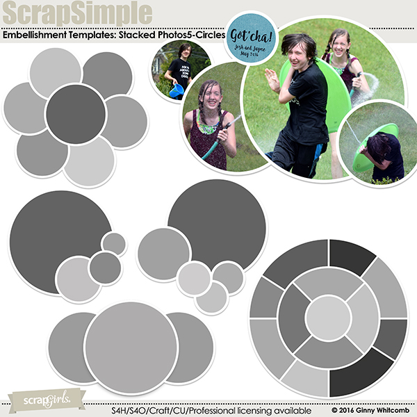 ScrapSimple Embellishment Templates:  Stacked Photos Vol. 5 - Circles