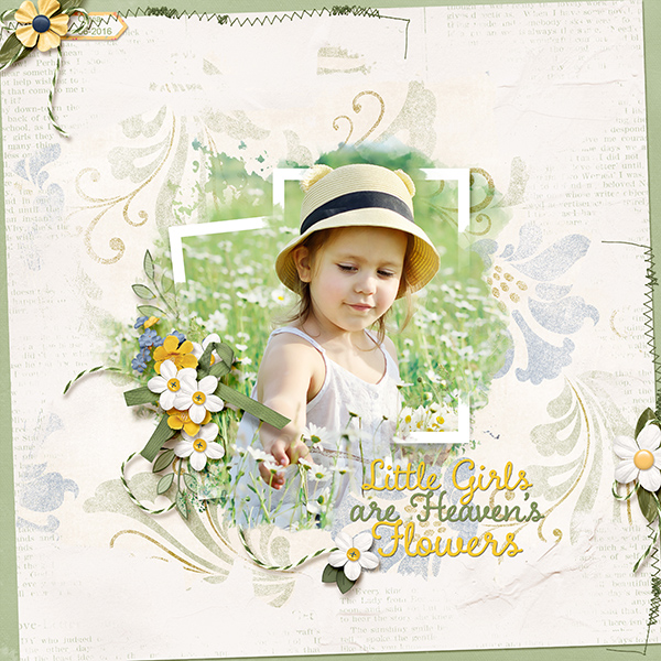 """Heaven's Flowers"" using ScrapSimple Paper Templates:  Just Blend It Vol3. Text Edgers"