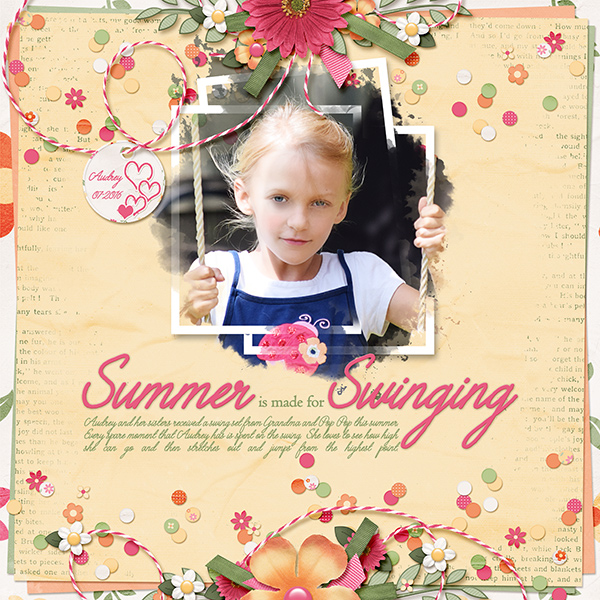 """Summer is made for Swinging"" layout featuring ScrapSimple Paper Templates:  Just Blend It Vol3. Text Edgers"