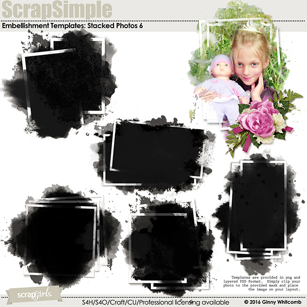 ScrapSimple Embellishment Templates:  Stacked Photos Vol. 6