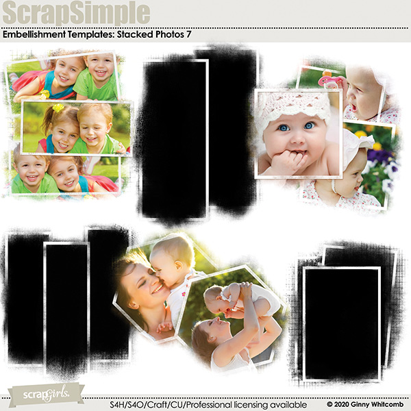 Scrap Simple Embellishment Templates:  Stacked Photos 7