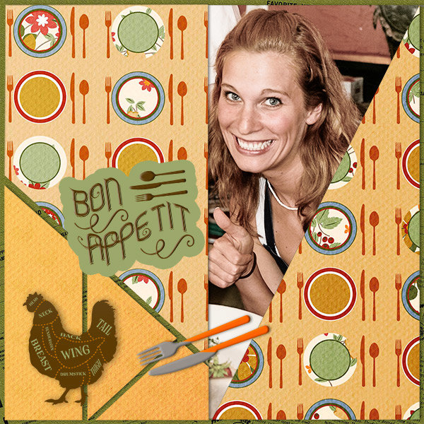"""Bon Appetit"" digital scrapbooking layout using Scrap Simple:  Family Recipe"
