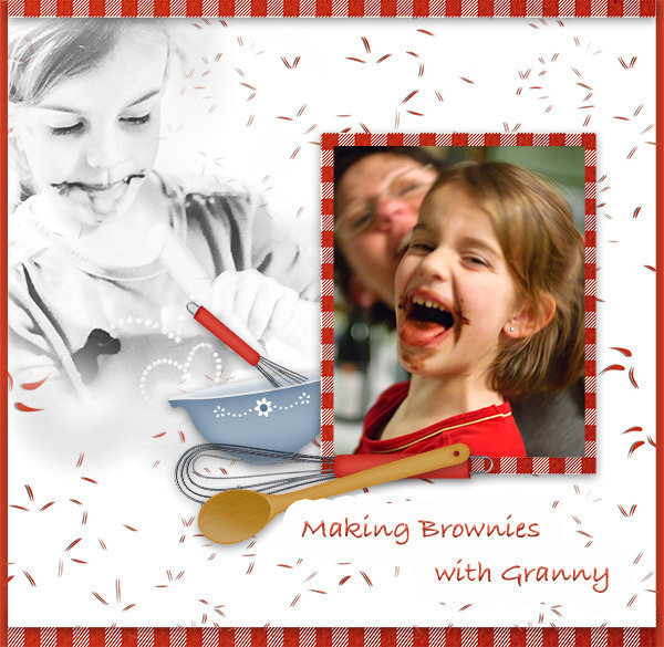 """Making Brownies"" digital scrapbooking layout using Scrap Simple:  Family Recipe"