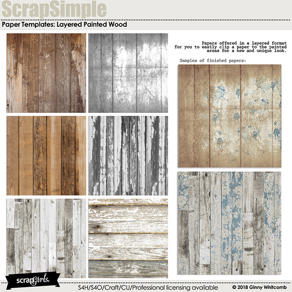 ScrapSimple Paper Templates Painted Wood