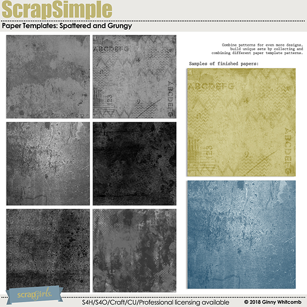 ScrapSimple Paper Templates:  Spattered and Grungy