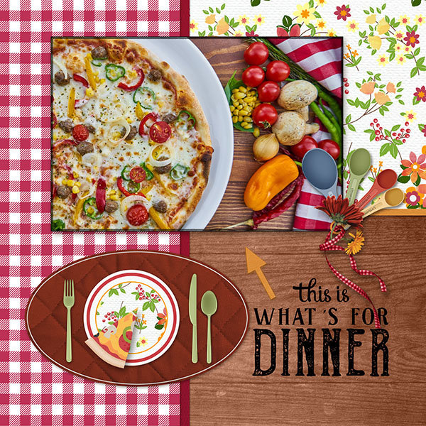 """What's For Dinner"" digital scrapbooking layout using Scrap Simple:  Family Recipe"