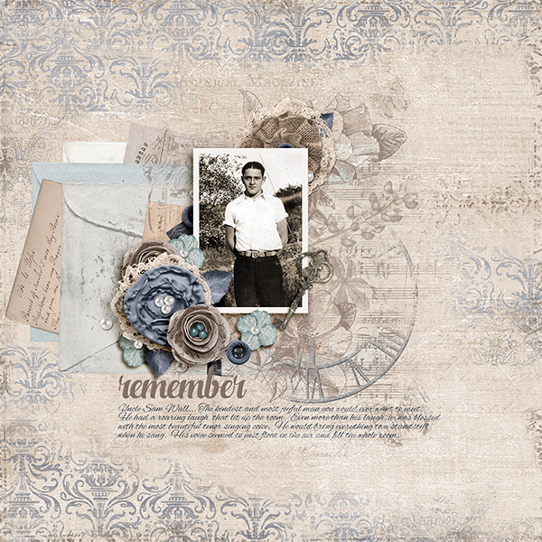 Digital Scrapbooking layout using ScrapSimple Simply Vintage Collection