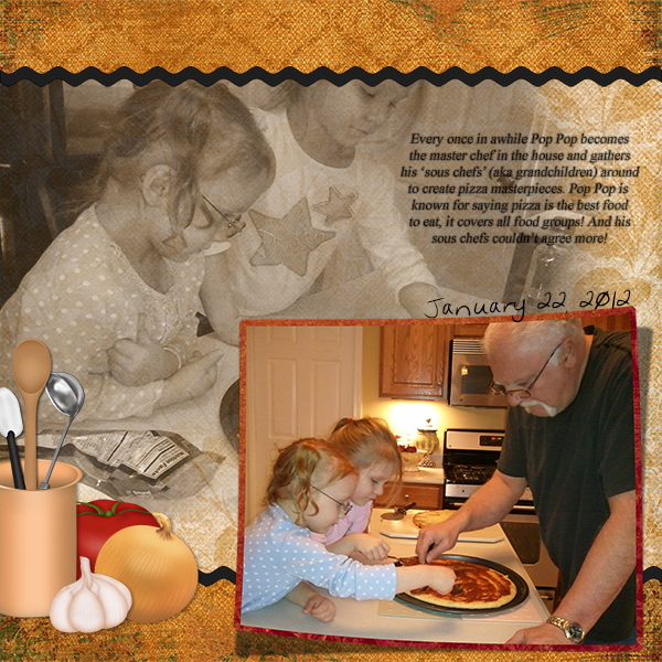 """Pop Pop's Sous Chefs"" digital scrapbooking layout by Ginny Whitcomb (supplies listed below)"