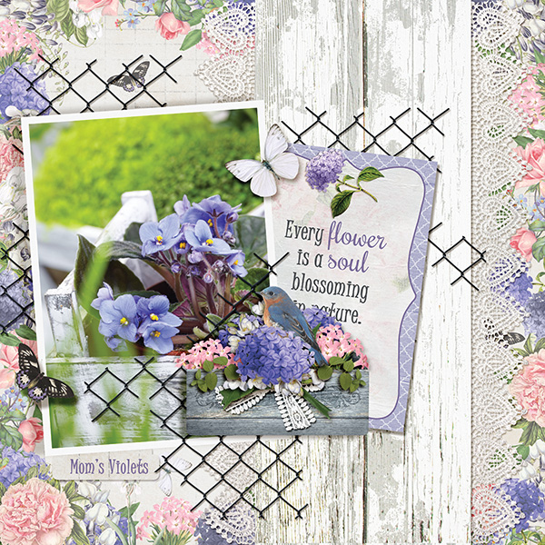 """Mom's Violets"" digital scrapbooking layout using Summer Garden Collections"
