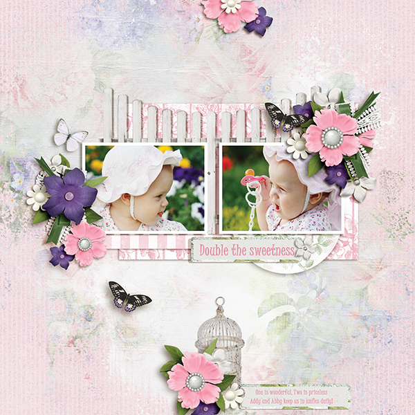 """Double the Sweetness"" digital scrapbooking layout using Summer Garden Collections"