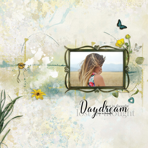 """""""Daydream"""" digital scrapbooking layout using Summer Reverie Collections"""