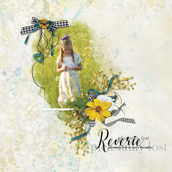 """""""Reverie, Pleasantly Lost In Thought"""" digital scrapbooking layout using Summer Reverie Collections"""
