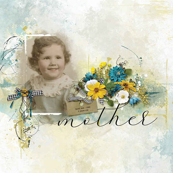 """Mother"" digital scrapbooking layout using Summer Reverie Collections"