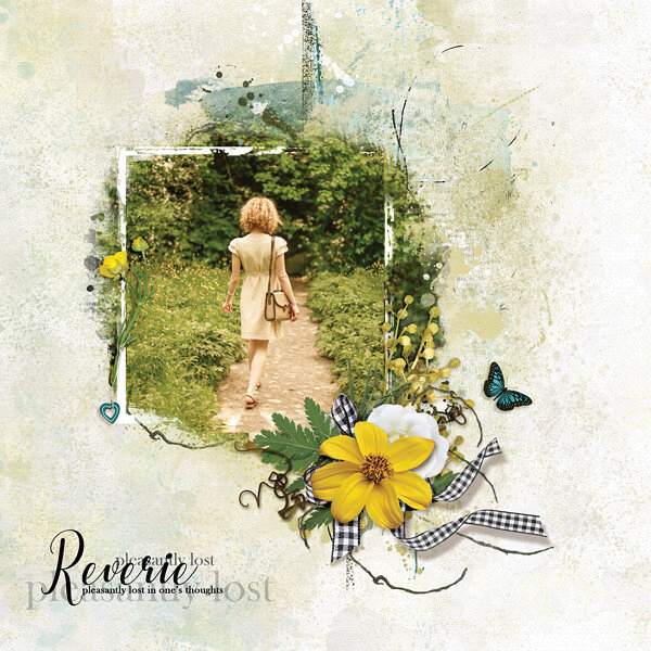"""""""Reverie"""" digital scrapbooking layout using Summer Reverie Collections"""