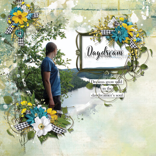"""Daydream"" digital scrapbooking layout using Summer Reverie Collections"