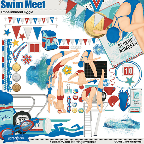 Swim Meet Collection Biggie Embellishments