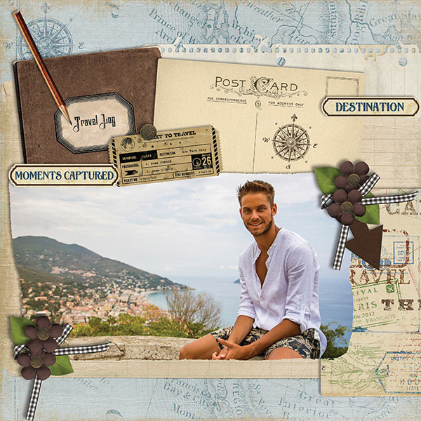 """""""Moments Captured"""" digital scrapbooking layout using Travel Log Collection Mini"""