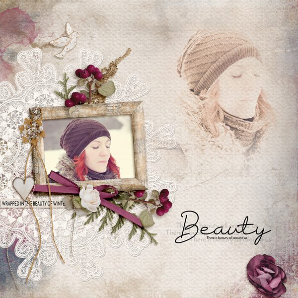 Digital scrapbooking layout featuring Winter's Beauty Collection