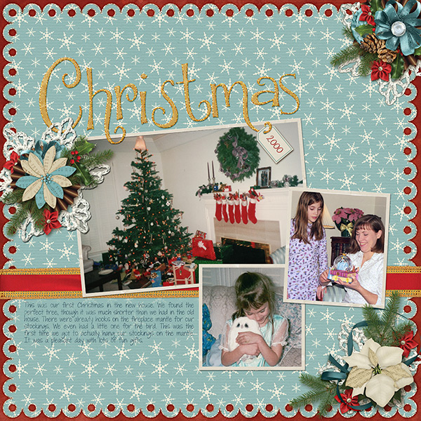 """""""Christmas 2000"""" layout using Winter Trimmings Collection Mini"""
