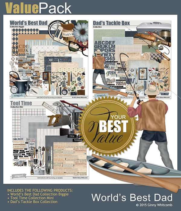 Value Pack Worlds Best Dad Digital Scrapbooking Collection