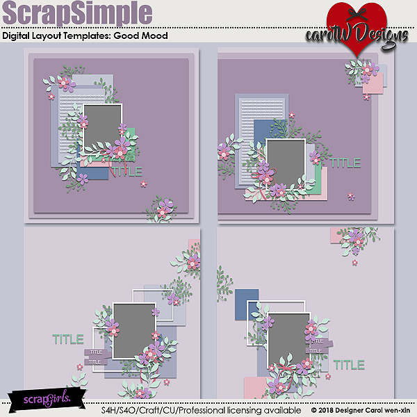 ScrapSimple Digital Layout Templates:Good Mood