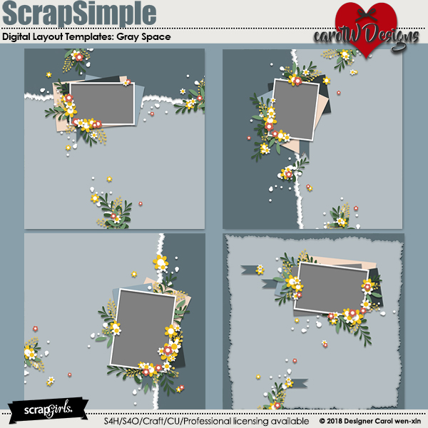 ScrapSimple Digital Layout Templates:Gray Space