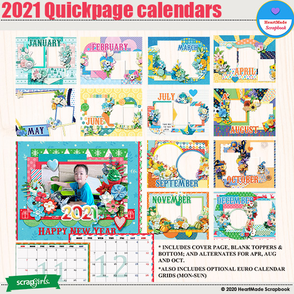 2021 Quick pages Calendars by HeartMade Scrapbook