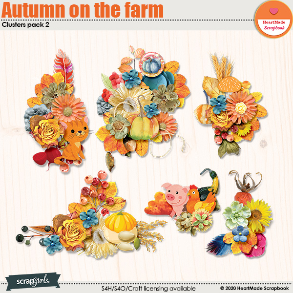 Autumn on the farm clusters pack 2 by HeartMade Scrapbook