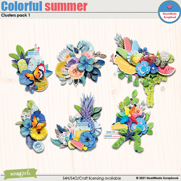 Colorful summer - clusters pack 1 by HeartMade Scrapbook