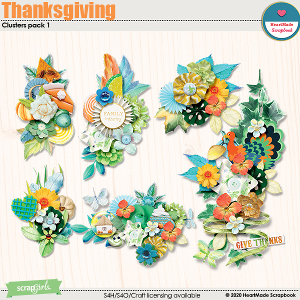 Thanksgiving - clusters pack 1 by HeartMade Scrapbook