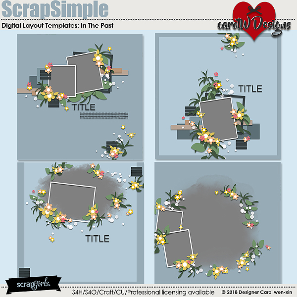 ScrapSimple Digital Layout Templates:In The Past