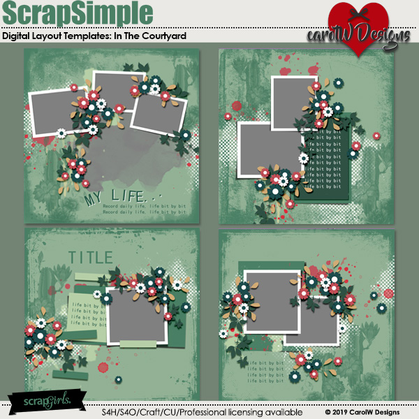 ScrapSimple Digital Layout Templates:In The Courtyard