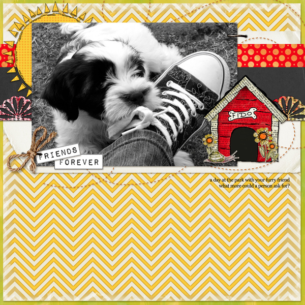 """FriendsForever"" Digital Scrapbooking Layout by Angie Briggs (product supply list and links below)"