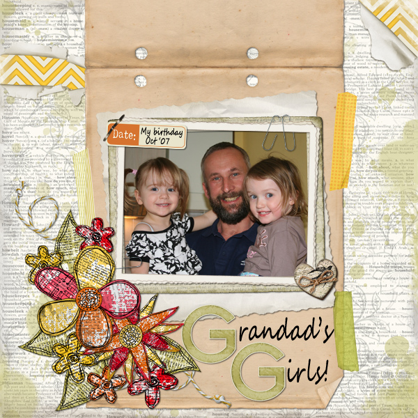 """Grandad's Girls"" Digital Scrapbooking Layout by Jan Ransley (product supply list and links below)"