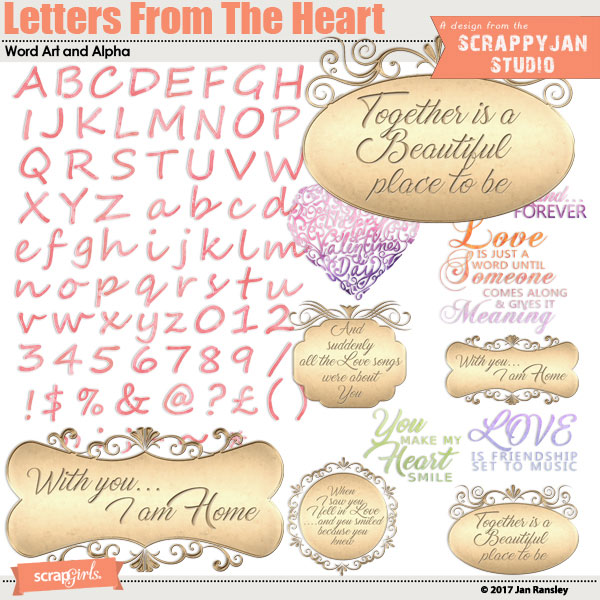 Letters From the Heart WordArt and Alpha created by Jan Ransley