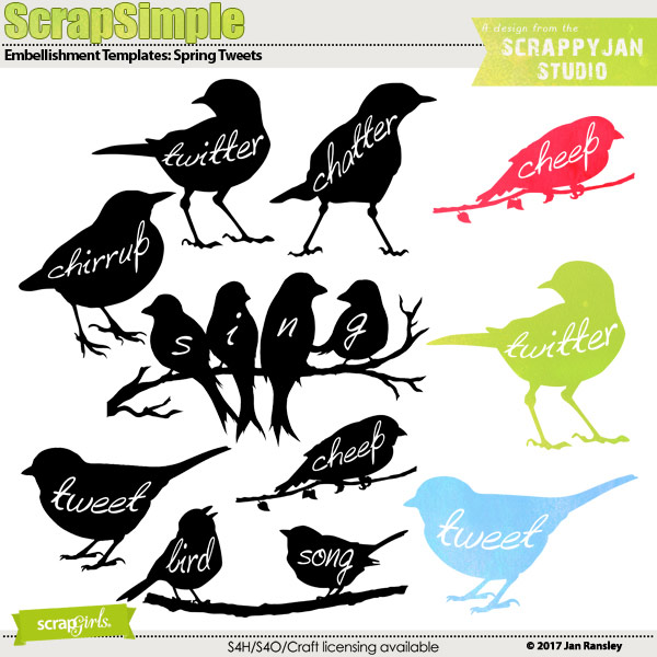 ScrapSimple Embellishment Templates - Spring Tweets by Jan Ransley