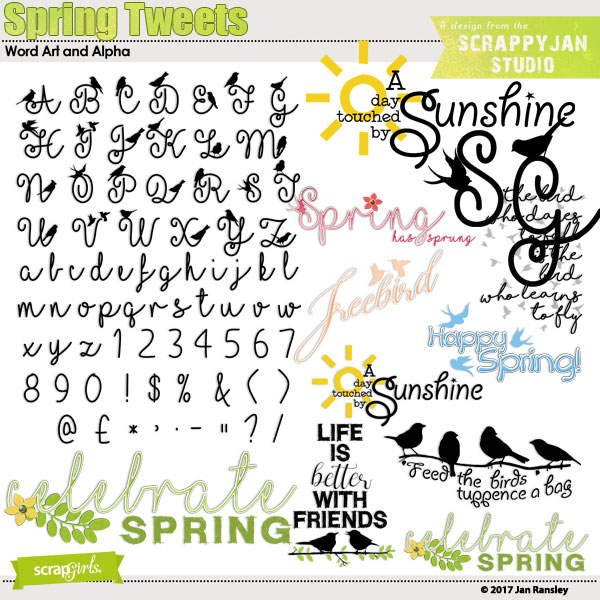 Spring Tweets WordArt and Alpha by Jan Ransley